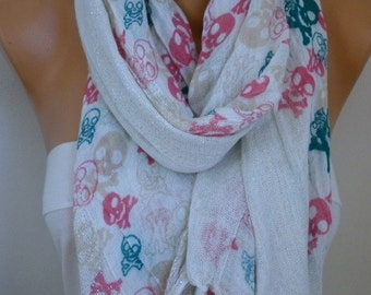 Skull Cotton Scarf Christmas Gift Shawl Crossbones Gift Ideas For Her Women Fashion Accessories fatwoman