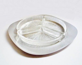 Mid Century Stainless Steel Snack Set Plate with Glass Compartments