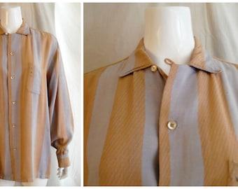 Vintage 1950s Mans Rayon Shirt Woven Stripe Grey and Tan Top Loop Rockabilly