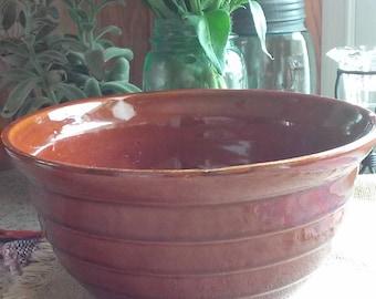 Vintage MarCast Stoneware Bowl, Brown Glazed Bowl, Ovenproof, USA, Vintage Kitchen Ware, Farmhouse