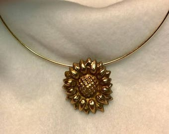Handcrafted Bronze Sunflower Pendant