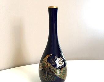 Cobalt Blue Peacock Vase / Japanese Vase / Vintage Blue Vase / Oriental Vase / Japanese Decor / Peacock Decor