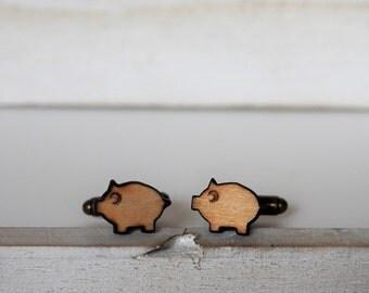 Pig Cufflinks Laser Cut Piggy Cuff Links wood mens accessories Little pig lovers