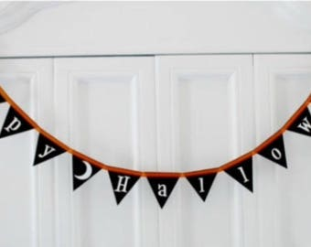 SALE! Halloween Decorations, Halloween Banner, Happy Halloween Banner, Felt Garland, Halloween Photo Booth prop