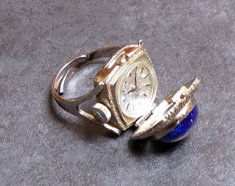 Vintage Lapis Lazuli Bucherer Watch Locket Ring