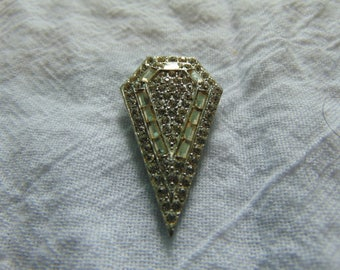 vintage art deco crystal dress clip fur silver