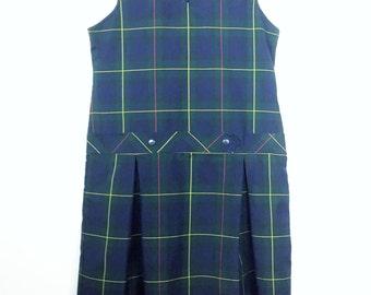 "90s Schoolgirl Uniform Dress 36"" Bust / Plaid Tartan Pinafore / Drop Waist / Pleated Skirt / Sleeveless / V Neck / Small"
