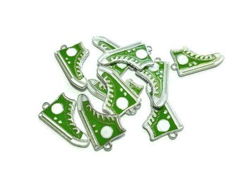 Green Shoe Charm - Converse Hi Top Silver Enamel - Sneaker - Chuck Taylor - 30mm x 17mm x 2mm - You Pick Quantity - 1 2 5 10 20 50 pieces