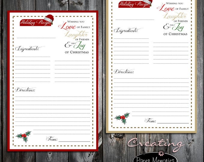 INSTANT DOWNLOAD Holiday Christmas Printable Recipe Cards. PDF File.