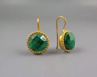 Green Emerald Earrings Gold, Large Gemstone Earrings, Gift For Girlfriend, Statement Earrings, Gold Green Drop Earrings, Round Gold Earrings