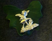 Gardening Angel Brooch Cherub Angel Watering Flowers Pin Vintage AJC Gardening Club Enthusiasts Gift Angel Tending Garden Lovers Jewelry