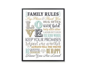 Family Rules, Family Rule sign, Family printable art, birthday gift print, printable home rules sign, house rules sign, family pules poster