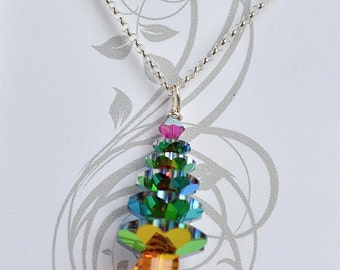Holiday Christmas Tree Pendant Necklace