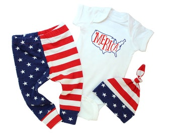 Baby Boy 4th of July Outfit - Merica Bodysuit - American Flag Pants - Fourth of July Baby Boy - 4th of July Baby Boy - Baby American Flag