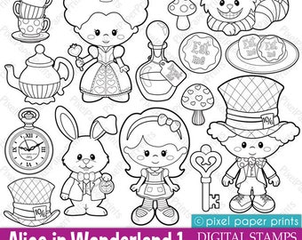 Alice in Wonderland Part 1 - Digital Stamps - Clipart