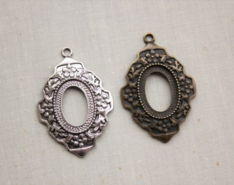 25x18mm Setting Pendants in Antique Bronze OR Antique Silver