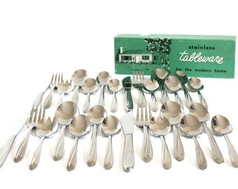 Mid Century Modern Stainless Flatware Set, Complete with Sporks, Superior Stainless USA Dynamic