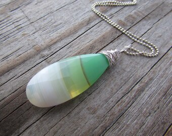 Chalcedony Pendant, big, green and white, wire wrapped bio chalcedony necklace,