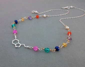 Serotonin Necklace - Multi Gemstone Necklace with Hot Pink Moonstone, Swarovski Crystal, Lapis Lazuli, Carnelian and Sterling Silver