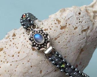 Zinc & Light Silver Blue Aurora Borealis Czech Fire Polish Beaded Bracelet with Sterling Silver Moonstone Box Clasp