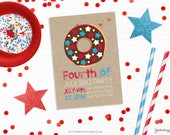 Personalized Printable Independence Day Donut Invitation -  Invite and Favor Tag or Printable Party for July 4th Parties or BBQs Donut