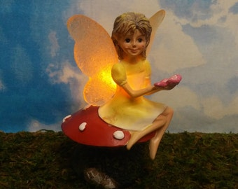 LED Fairy With Light Up Wings On Her Toadstool for Fairy Garden Miniature