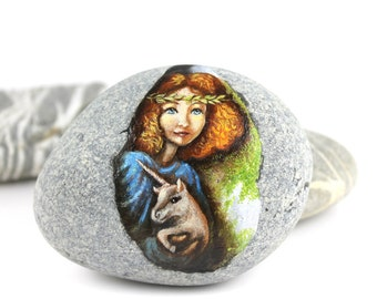 Painted stone beach rock art Ready to ship free express shipping Little fairy with unicorn sprite of the forest painted pebble beach