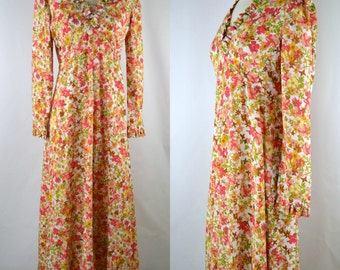 1970s Floral Print Maxi Dress, Long Sleeve Dress, Flower Print