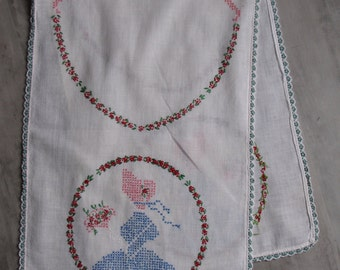 Vintage White Cross Stitched Little Girl with Bonnet Table Runner / Dresser Runner in blue, pink, red