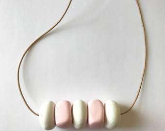 Pink White Necklace Geometric Minimalist
