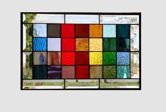 Beveled stained glass panel window rainbow squared geometric abstract stained glass window panel modern window hanging 0237 17 1/2 x 11 1/2