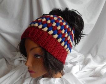 Pony Tail Messy Bun Hat - Crochet Woman's Fashion Hat - Burgundy, Camel & Blue