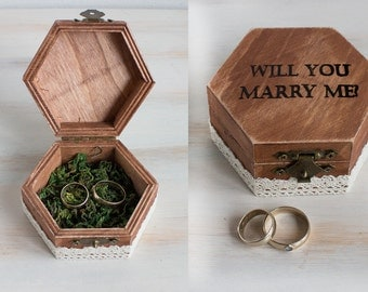 Proposal Ring Box Will You Marry Me Engagement Ring Box with moss Wedding Ring Bearer Box Engraved Wedding Box Wedding Ring Box Ring Holder