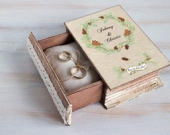 Wedding ring bearer box Fall Ring Box Pine cone wedding box Autumn ring bearer box Rustic wedding box Ring pillow Personalized Wedding Box