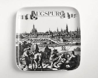 Black transferware, German porcelain Augspurg souvenir plate, Gegr 1849, Germany, Augsburg souvenir