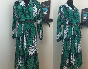 Abstract 80s Floral Dress Green Blue White