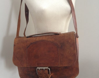 Distressed Leather Crossbody Messenger Bag
