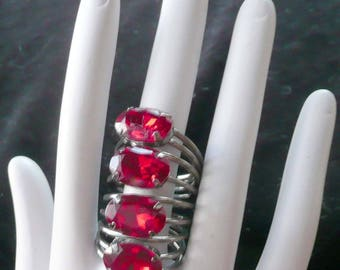 Ruby Red Rhinestone Ring 4 Rings in One Unique