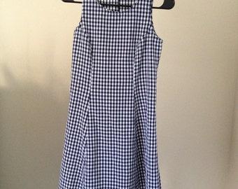 sleeveless navy blue white checkered picnic tablecloth dress XS S cross back corset lace tank minidress