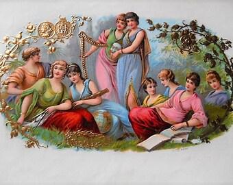 The Muses La Grandeza Original Litho Inner Cigar Box Label Litho