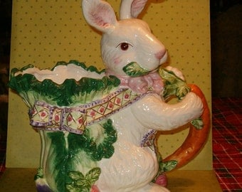 "Fitzy Rabbit Pitcher, Dimentional, Colorful, Gorgeous Quality, 11""H, Large, 6""W, 10""L, Ceramic"