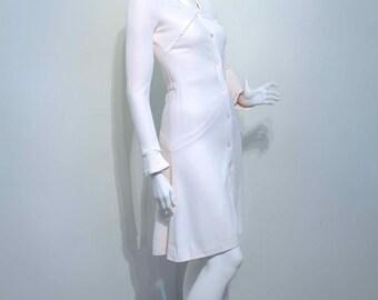 Vintage 1960s CLOBBER Cream Crepe Mod Dress 1930s Bonnie & Clyde Style //  British Boutique label