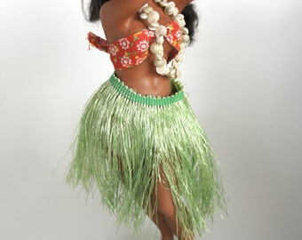 "1960's Hula Doll 11"" Dashboard Hawaiian Hula Dancer Curvy Pinup"