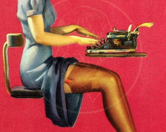 Just the Type - 10x16 Giclée Canvas Print of Vintage Pinup Postcard