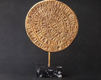 Metal Sculpture Greece, Phaistos Disc Minoan Crete Greek Art, Museum Replica, Ancient Mystery Disc, Greek Decor, Art Gift, Art Decor