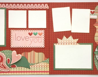 I Love Everything About You Premade 2 Page 12x12 Scrapbook Layout