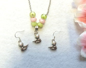 Inspired by Hungry Caterpillar set of Necklace and Earrings