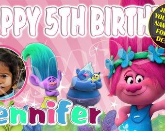 Trolls, Trolls Birthday Banner, Trolls Party Banner, Princess Poppy Banner, Personalized Custom Birthday Banner Party Decoration with photo