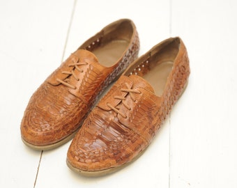 Vintage Cherokee Woven Leather Oxford Shoes, Mens 8  / ITEM358