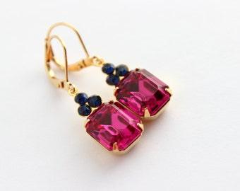 Fuchsia Swarovski earrings, Fuchsia earrings. hot pink earrings, octagon earrings, bright pink, pink wedding, pink and sapphire 12x10 SFS1